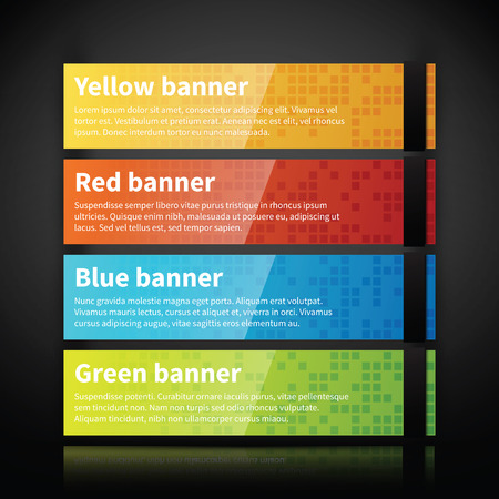 Set of 4 colorful glossy web banners. Illustration