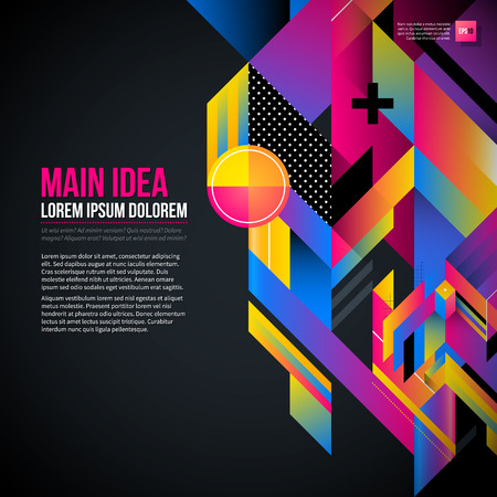 fond de texte: Dark text background with abstract geometric element and glowing lights. Corporate futuristic design, useful for presentations, advertising and web layouts. EPS10 vector template.