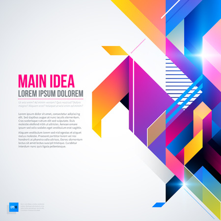 constructivism: Text background with abstract geometric element and glowing lights. Corporate futuristic design, useful for presentations, advertising and web layouts. EPS10 vector template.