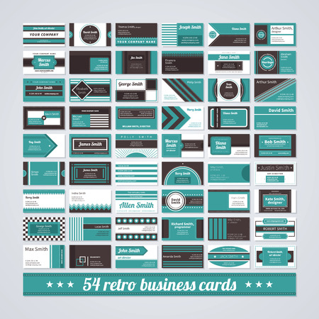 name: Set of 54 different business cards in retro style. Illustration