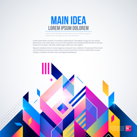 Text background with abstract geometric element and glowing lights. Corporate futuristic design, useful for presentations, advertising and web layouts. EPS10 vector template.
