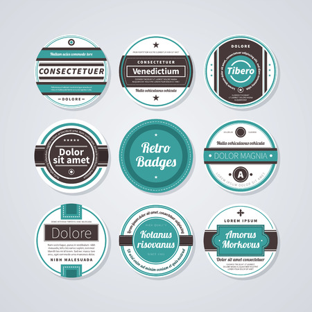 circle design: Set of 9 circle labels in retro style on white background.