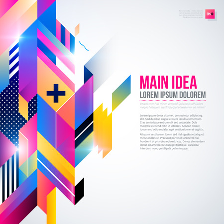 fond de texte: Text background with abstract geometric element and glowing lights. Corporate futuristic design, useful for presentations, advertising and web layouts. EPS10 vector template.