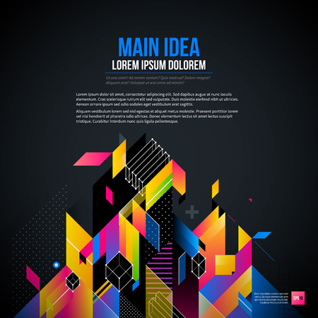 constructivism: Dark text background with abstract geometric element and glowing lights. Corporate futuristic design, useful for presentations, advertising and web layouts. EPS10 vector template.