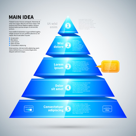 Blue glossy pyramid chart. Its useful for infographics and presentations. Ilustração