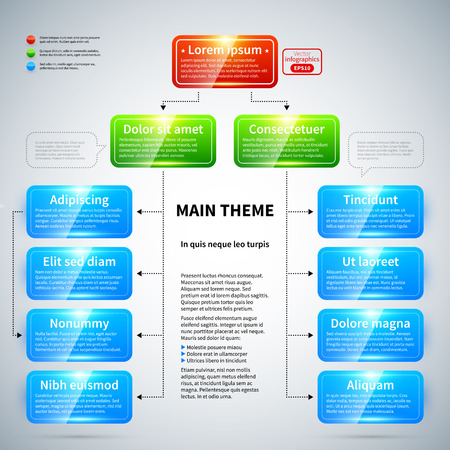 organization: Organization chart with colorful glossy elements. Useful for presentations.