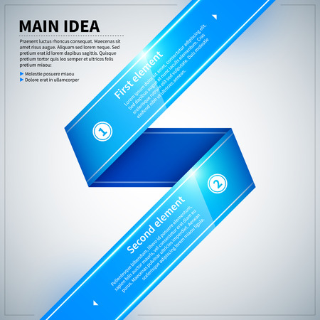 paper graphic: Blue glossy ribbon with two options. Illustration