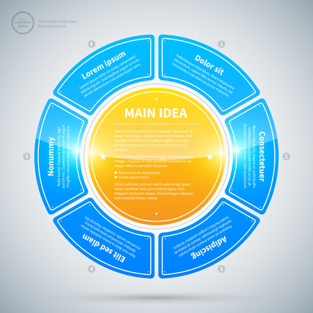 process design: Circle made of blue and glossy options. Illustration
