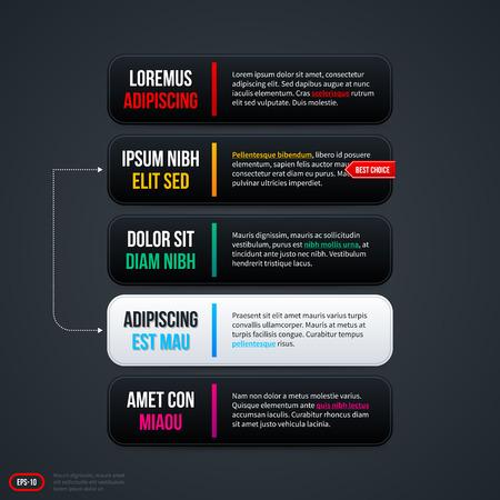 horizontal: Five horizontal options for web. EPS 10