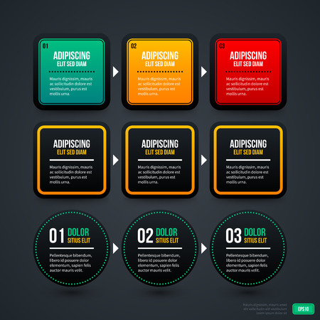 Set of three sequence or timeline templates. EPS10. Illustration