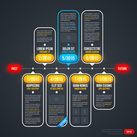 Horizontal timeline with transparent elements. EPS10.