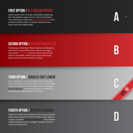 red black: Vector layout with four bannersoptions. EPS10.