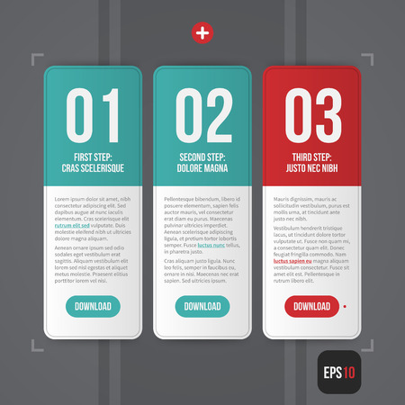 business process: Three simple web banners with numbers from 01 to 03. EPS10. Illustration