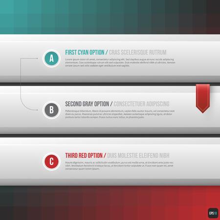 horizontal: Three horizontal options. Useful for web design. EPS10.