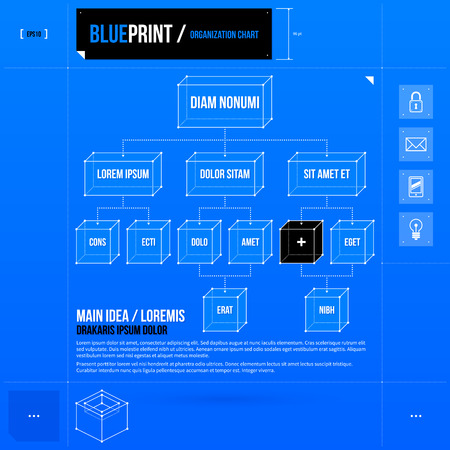 organization chart: Organization chart template with rectangle elements in blueprint style.