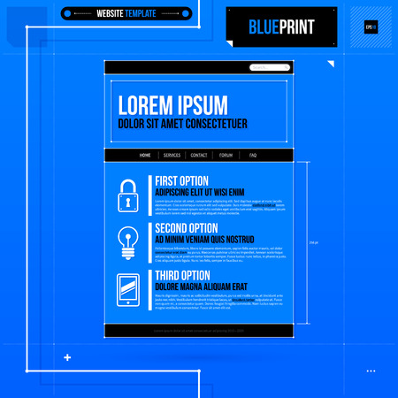 web site: Web site template in blueprint style.  Illustration