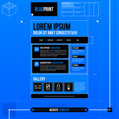 web site: Web site template in blueprint style.