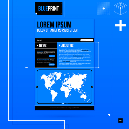 web site template: Web site template in blueprint style.