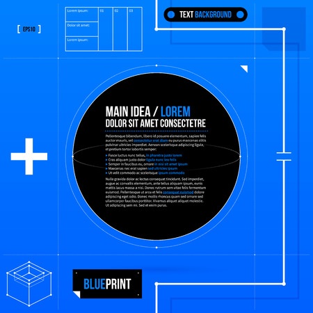 fond de texte: Text background template with black circle in blueprint style.