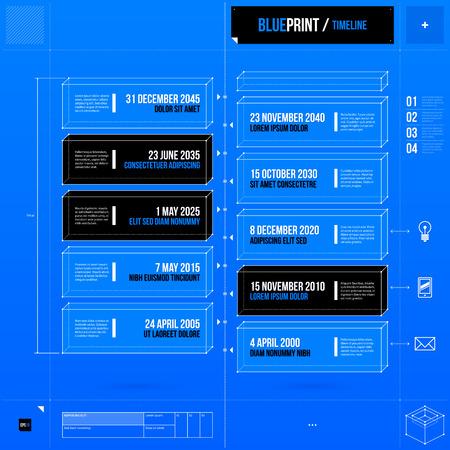 blueprint: Vertical timeline template in blueprint style.   Illustration