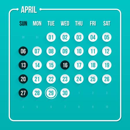 scheduler: Modern calendar template. April 2014.