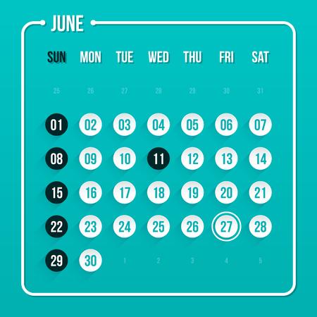 june: Modern calendar template. June 2014.   Illustration
