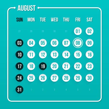 scheduler: Modern calendar template. August 2014.
