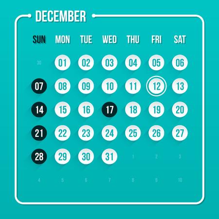 in december: Modern calendar template. December 2014.