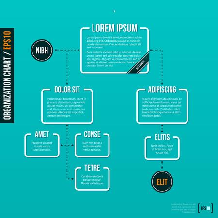 organigrama: Organización plantilla de gráfico sobre fondo turquesa. . Vectores