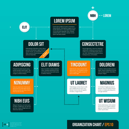 Modern organizational chart template on turquoise background.