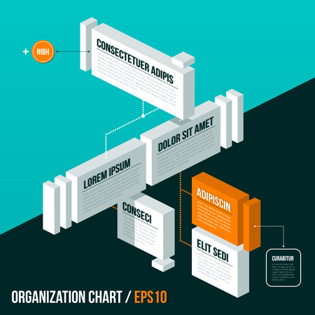 decision tree: Organization chart template on turquoise background. Illustration