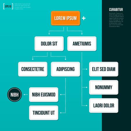 Organization chart template on turquoise background. Illustration