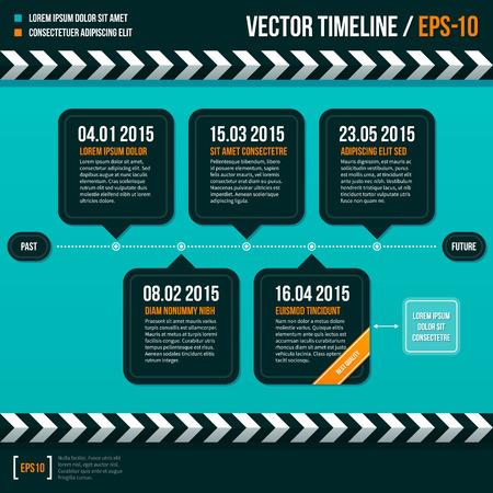 Modern timeline on turquoise background.
