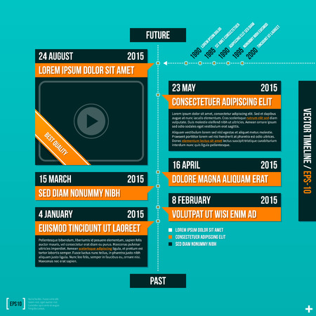turquise: Vertical vector timeline template on turquoise background. Illustration