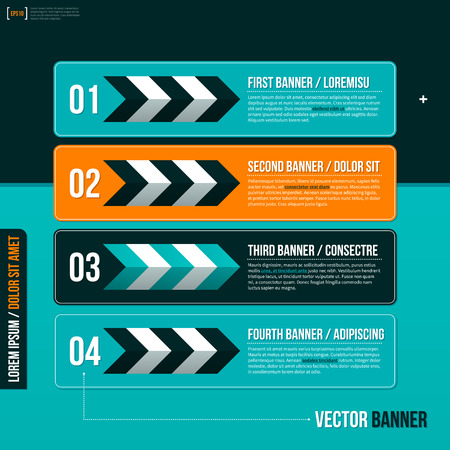 turquise: Four horizontal banners on turquoise background.  . Illustration