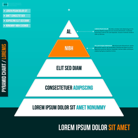 pyramid: Pyramid chart with five options.   Illustration