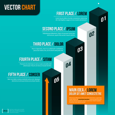 tournament chart: Vector pedestal with five options on turquoise background.