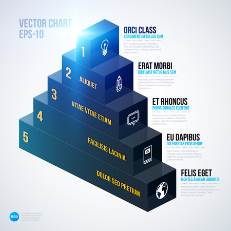 multilevel: Isometric 3d pyramid chart template on white background.