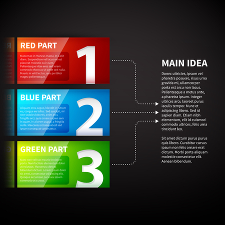 main group: 3 colorful banners, numbered from one to three, with arrows leading to the main idea. Useful for demonstrations and presentations.