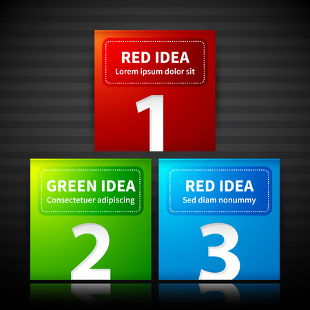 arranged: Red, green and blue square banners, arranged in a pyramid.