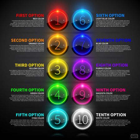 button: Set of colorful glowing options. Illustration