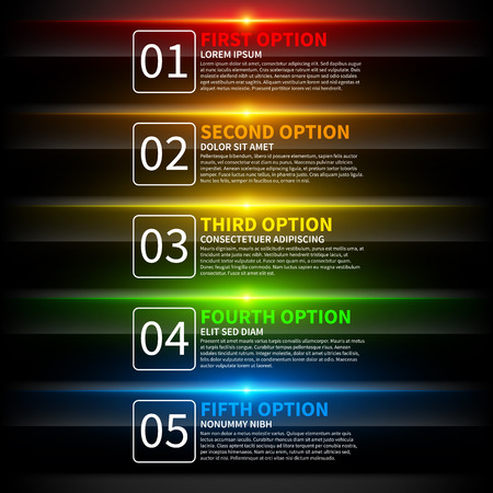 product background: 5 colorful glowing options. Useful for presentations or web design. Useful for presentations or web design.