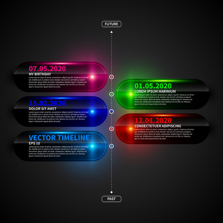 led: Glossy timeline template with glowing elements.