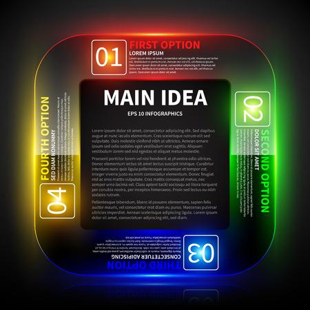 main idea: 4 colorful glowing options around the main idea. Illustration