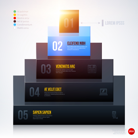 multilevel: 3d pyramid chart template on white background. EPS10
