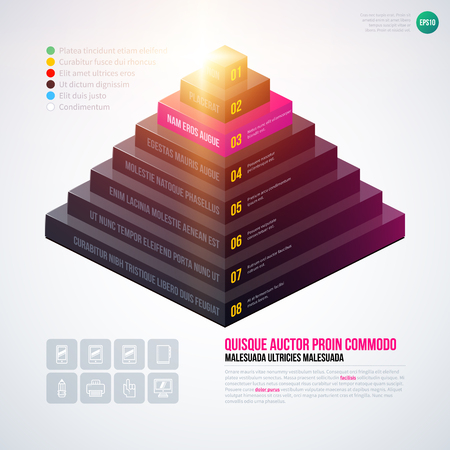 multilevel: Isometric 3d pyramid chart template on white background. EPS10