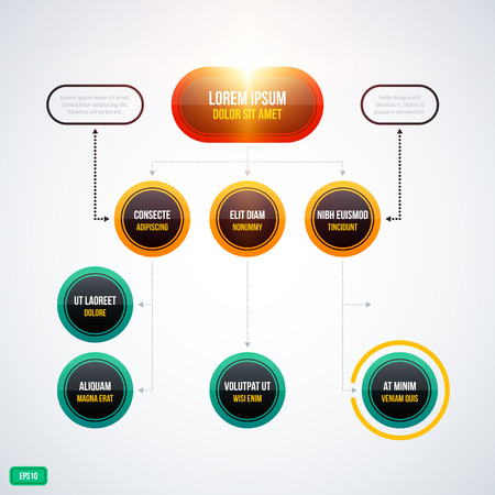Modern organization chart template with glowing lights on white background. EPS10 Illustration