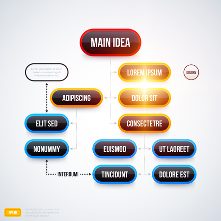 decision tree: Modern organization chart template with glowing lights on white background. EPS10 Illustration