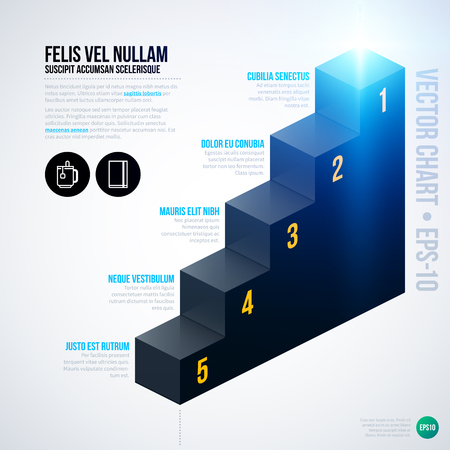 design process: Vector chart template with isometric stairs. EPS10 Illustration