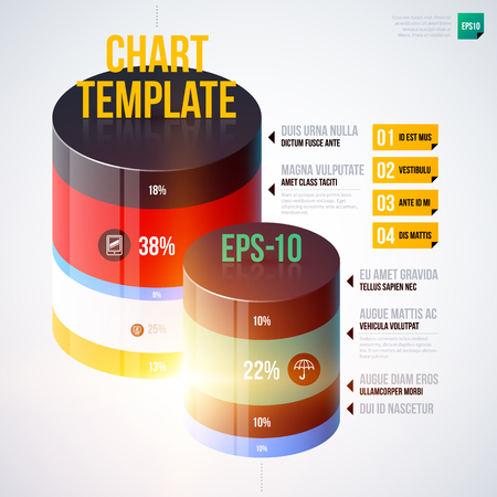multilevel: Infographics chart template with 3d cylinders. EPS10